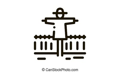 wheat field scarecrow Icon Animation. black wheat field scarecrow animated icon on white background