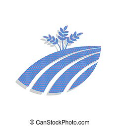 Wheat field sign. Vector. Neon blue icon with cyclamen polka dot