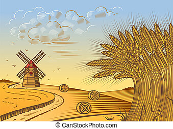 Retro wheat fields landscape in woodcut style. Vector illustration with clipping mask.