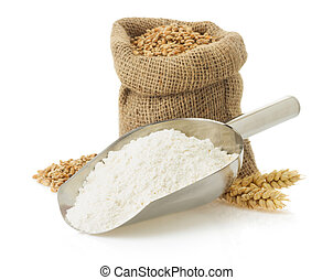 wheat flour and bread on white - wheat flour and bread ...
