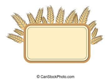 Wheat frame, design element. Vector. Isolated illustration.