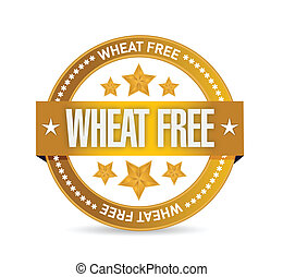 wheat free seal illustration design