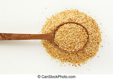 Wheat germ in spoon