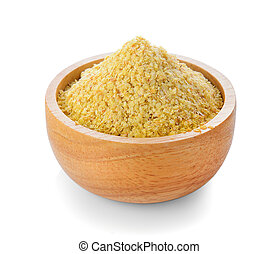 Wheat germ in wood bowl on white background