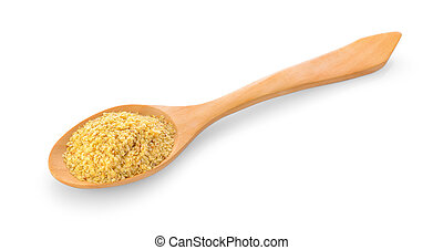 Wheat germ in wood spoon on white background