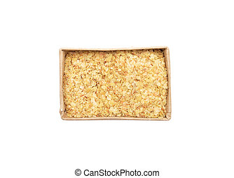 Wheat germs in paper box on white background