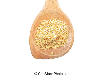 Wheat germs on wooden spoon on white background