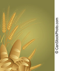 Wheat Grain Breads with Wheat Stalks Illustration - Whole...