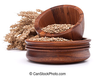 wheat grains in wooden bowl isolated of white background...