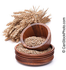 wheat grains in wooden bowl isolated of white background