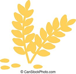 Wheat hand drawn design, illustration, vector on white background.