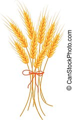 Wheat icon flat style. Isolated on white background. Vector illustration