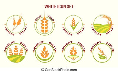 Wheat icon set on white background. Vector illustration. Suitable for labels.