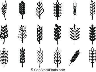 Wheat icon set, simple style