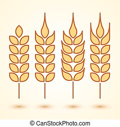 wheat icons set