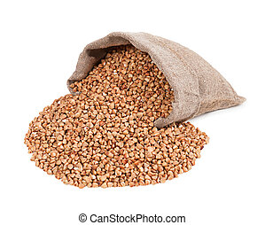 Wheat in bag isolated on white background