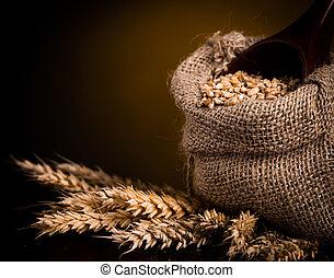 Wheat in burlap bag
