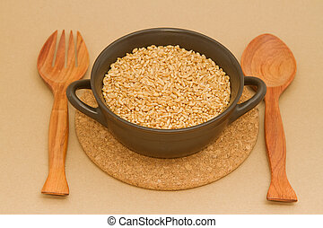 wheat in clay bowl