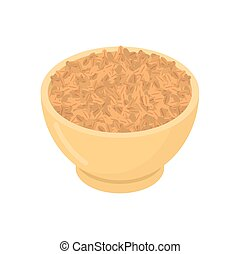 Wheat in wooden bowl isolated. Groats in wood dish. Grain on white background. Vector illustration