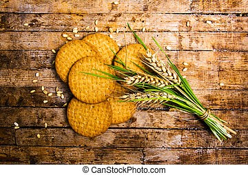 Wheat integral cookies isolated - Wheat integral cookies and...