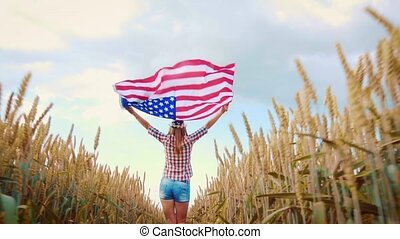 wheat., jeune, paysage, sky., été, beau, drapeau, girl, ...