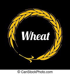 Gold round border in the form of ear. Flat design. - Wheat...