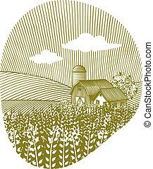 Wheat Landscape - Woodcut style illustration of a wheat...