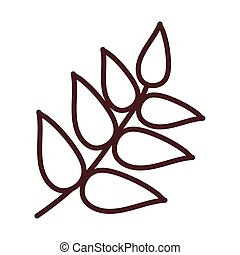 wheat leaves, line style icon