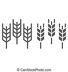 Wheat line and glyph icon, grain and gluten, bread sign, vector graphics, a linear pattern on a white background.