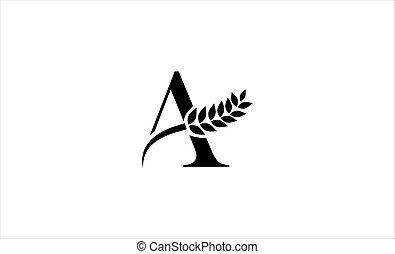 wheat logo letter a vector illustration