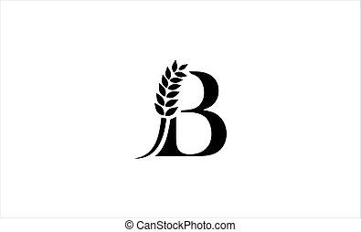 wheat logo letter b vector illustration
