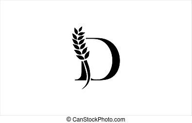 wheat logo letter d vector illustration