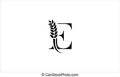 wheat logo letter e vector illustration