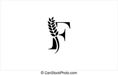 wheat logo letter f vector illustration