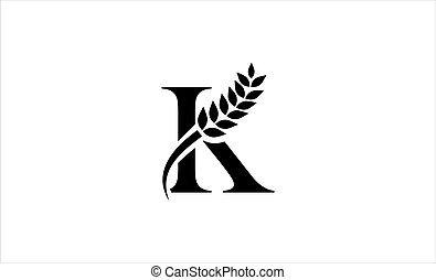 wheat logo letter k vector illustration