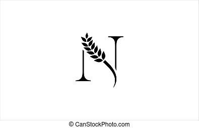 wheat logo letter N vector illustration