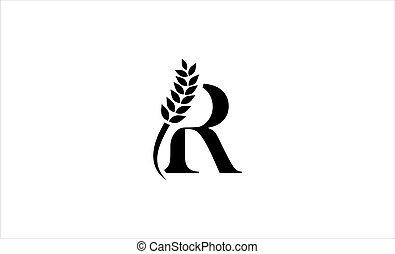 wheat logo letter R vector illustration