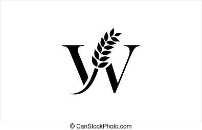 wheat logo letter W vector illustration