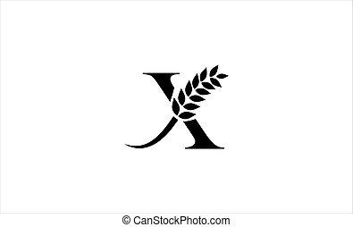 wheat logo letter X vector illustration