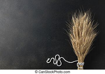 wheat on black background