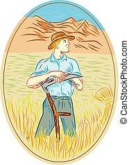 Wheat Organic Farmer Scythe Oval Drawing