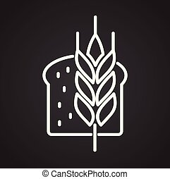 Wheat outline icon black background for graphic and web design, Modern simple vector sign. Internet concept. Trendy symbol for website design web button or mobile app.