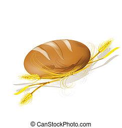 wheat., pão, illustration., vetorial
