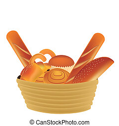 wheat products - a lot of wheat products in a yellow basket