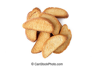 Wheat rusks isolated on white background.