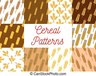 Wheat, rye and barley ears seamless patterns set