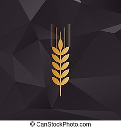 Wheat sign illustration. Golden style on background with polygons.
