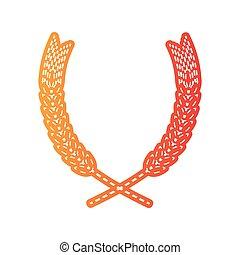 Wheat sign illustration. Orange applique isolated.