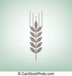 Wheat sign illustration. Spike. Spica. Vector. Brown flax icon on green background with light spot at the center.