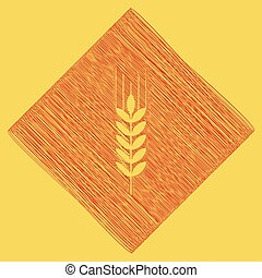Wheat sign illustration. Spike. Spica. Vector. Red scribble icon obtained as a result of subtraction rhomb and path. Royal yellow background.
